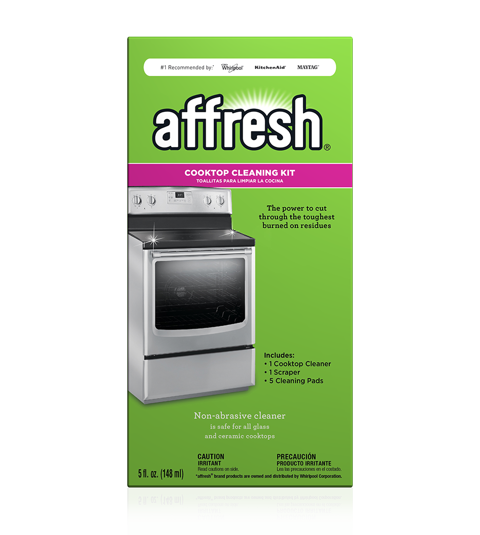 A close-up picture of a single box of the affresh Cooktop Cleaning Kit.