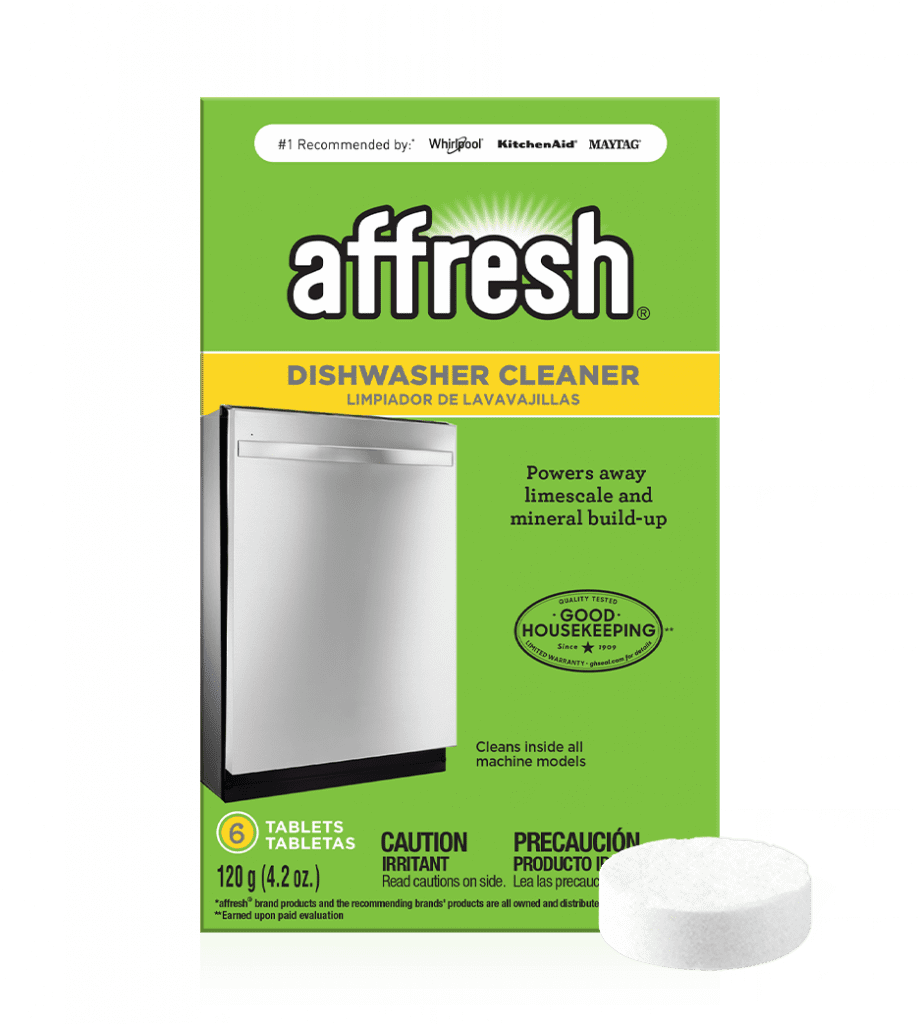 A close-up picture of the affresh® dishwasher cleaner tablet 6-count box and a single tablet in front.