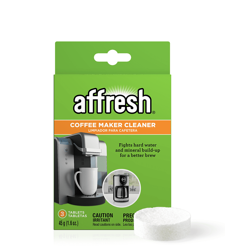 A close-up of the 3-count package of affresh Coffee Maker Cleaner tablets designed to fight hard water mineral build-up for a better brew.