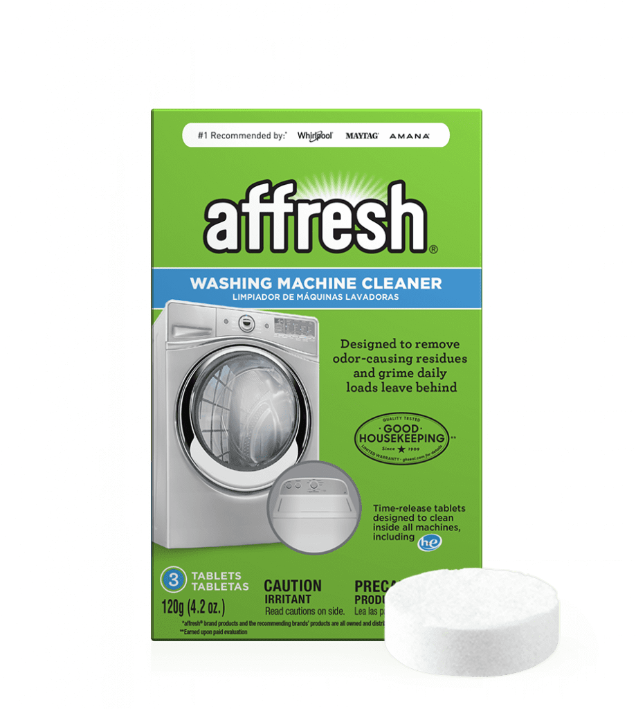 A close-up picture of the 3-count affresh Washing Machine Cleaner package depicting a front-loader washer and a top-load washer, while a single tablet sits in front.