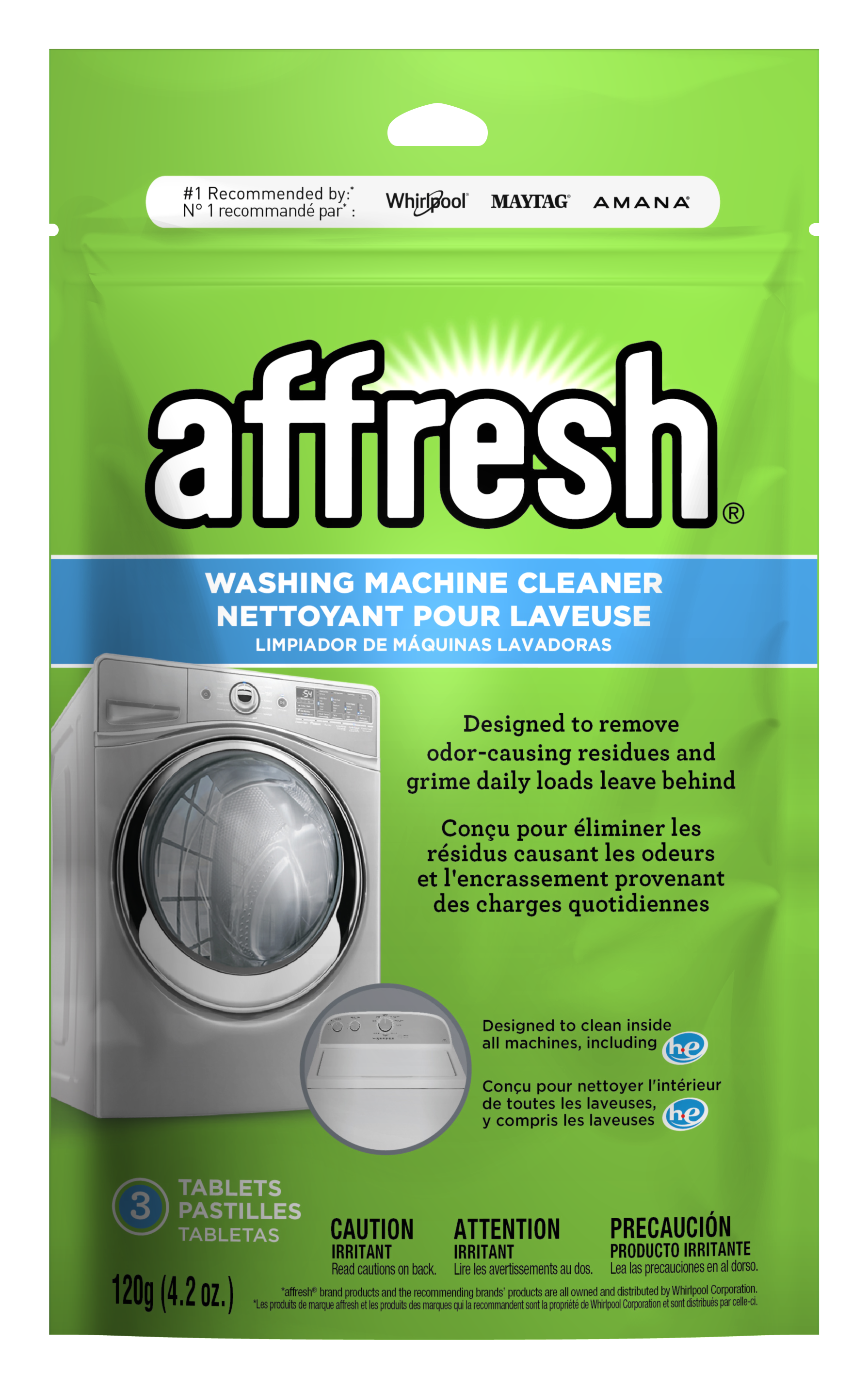 A close-up of the affresh® washing machine cleaner tablets in a 3-count resealable pouch.