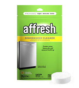 A close-up picture of the affresh Dishwasher Cleaner tablet 6-count box and a single tablet in front.